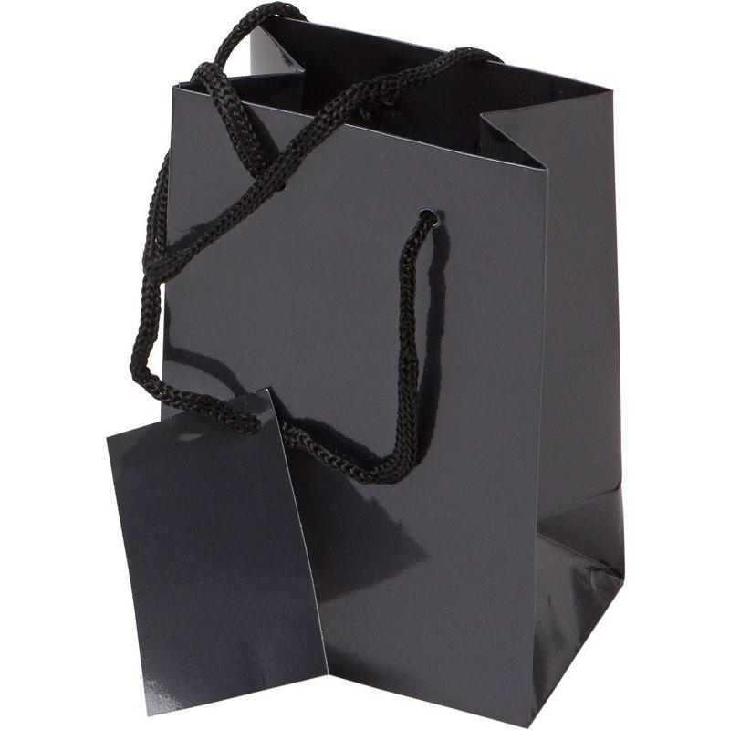 Bolsa de regalo de papel plastificado en tamaño ancho:(10 cm) + Fuelle(7 cm) x Alto(15 cm)