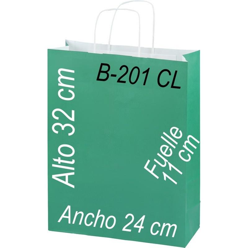 Bolsa Multiusos de pape celulosa con asa retorcida tamaño 24x32 cm