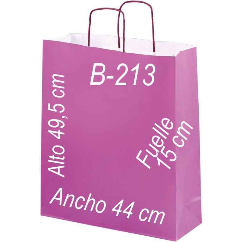 Bolsa papel blanco verjurado de 110 grs. fondo de color y asa retorcida del mismo color que la bolsa. Tamaño: Ancho (44 cm) + Fuelle (15 cm) x Alto (49,5 cm)