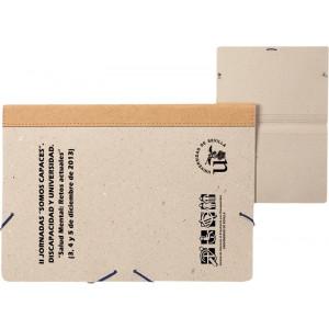 Carpeta gomillas cartón reciclado natural.Lomo en cuero reciclado.