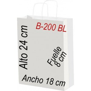 Bolsa Multiusos de papel celulosa blanco 54 x 45 cm con asa retorcida.