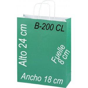 Bolsa Multiusos de pape celulosa con asa retorcida tamaño 18x24 cm
