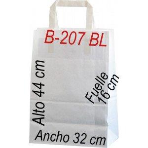 Bolsa Multiusos de papel celulosa blanco 32 x 44 cm Asa Plana