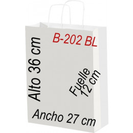 Bolsa papel 27x36 Asa retorcida Fondo blanco