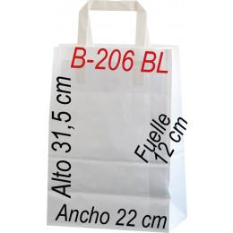 Bolsa papel celulosa blanco 22x31,5 Asa plana