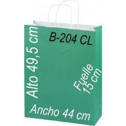 Bolsa papel 44 x 49,5 Asa retorcida fondo de color