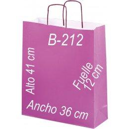 Bolsa papel verjurado 36X41 Asa retorcida y fondo de color