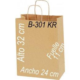 Bolsa papel Kraft 24x32 Asa retorcida kraft