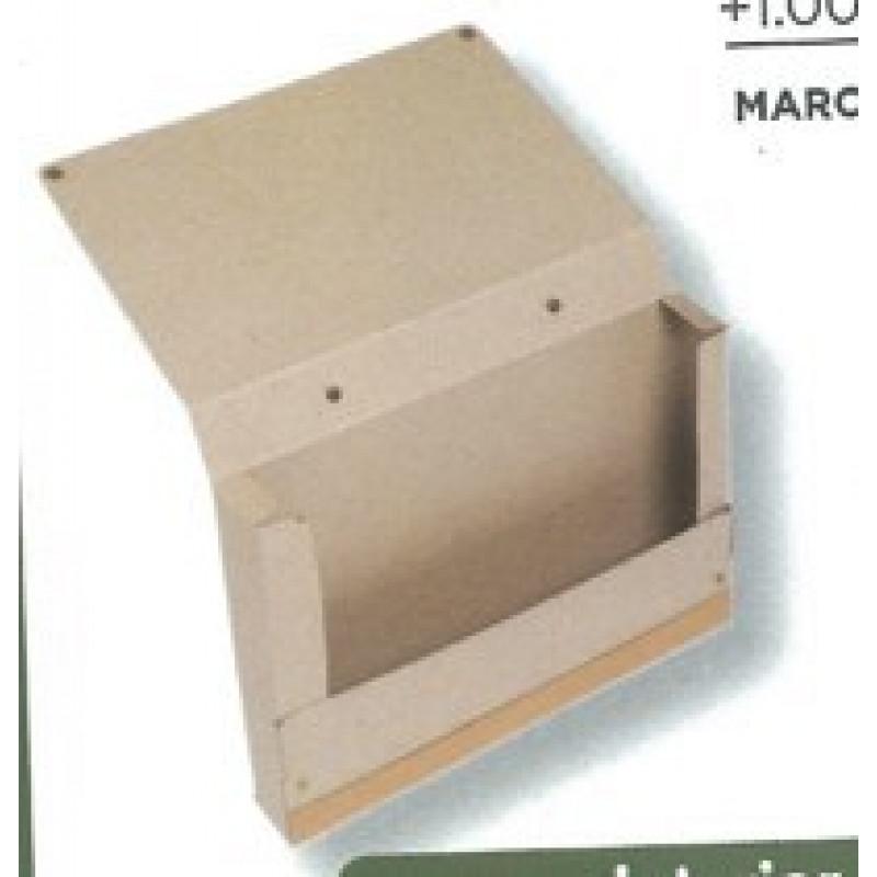 Maletín Cartón lomo y asa en cuero reciclado.Cierre de broches interior