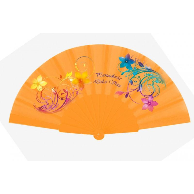 Abanico de tela y varillas de plástico naranja