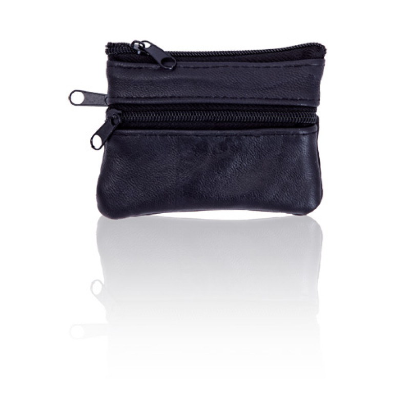 monedero piel trizip color negro