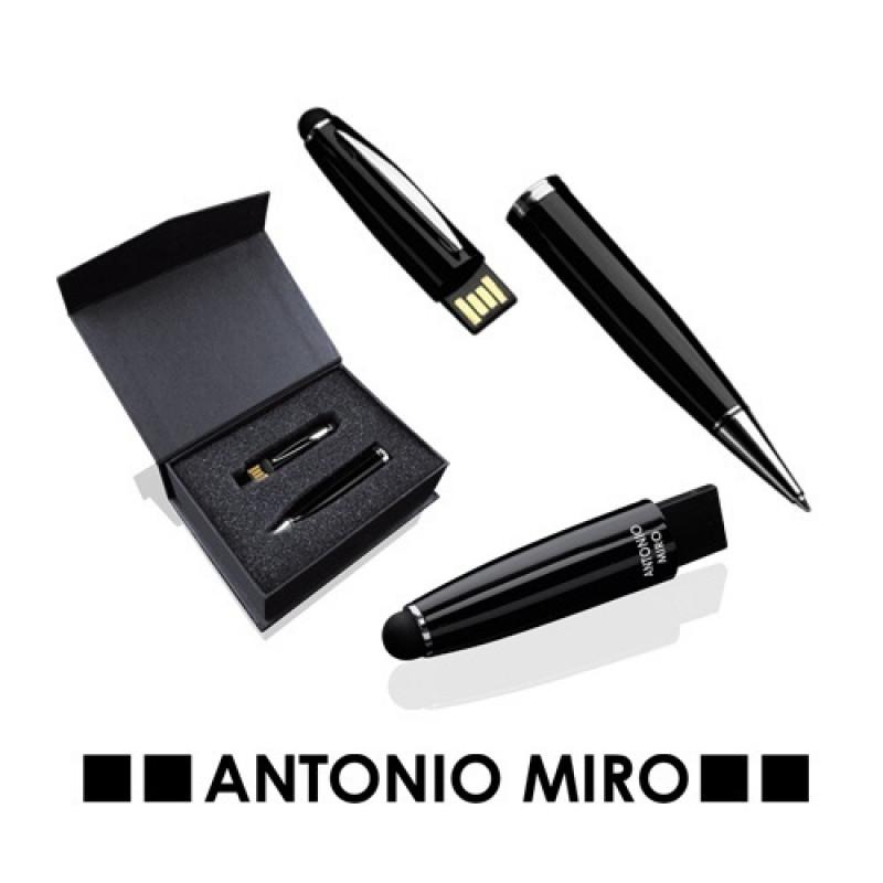 Bolígrafo-puntero metálico usb Latrex 8 Gb.Marca Antonio Miró.