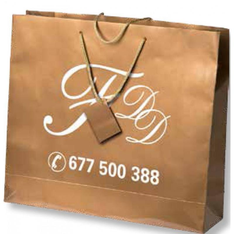 Bolsa de regalo de papel plastificado en tamaño ancho:(40 cm) + Fuelle(11 cm) x Alto(36 cm)