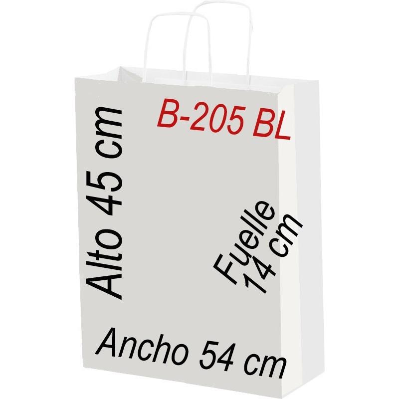 Bolsa papel blanco con asa retorcida tamaño 54 x 45 cm