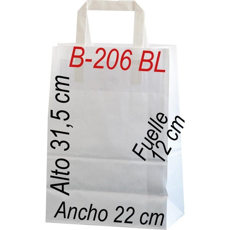 Bolsa Multiusos de papel celulosa blanco 22 x 31,5 cm con asa Plana
