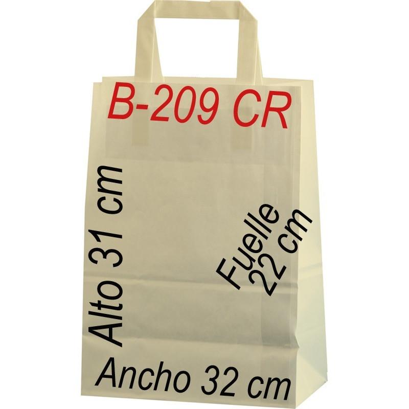 Bolsa Multiusos de papel celulosa CREMA 32 x 31 cm  Asa Plana