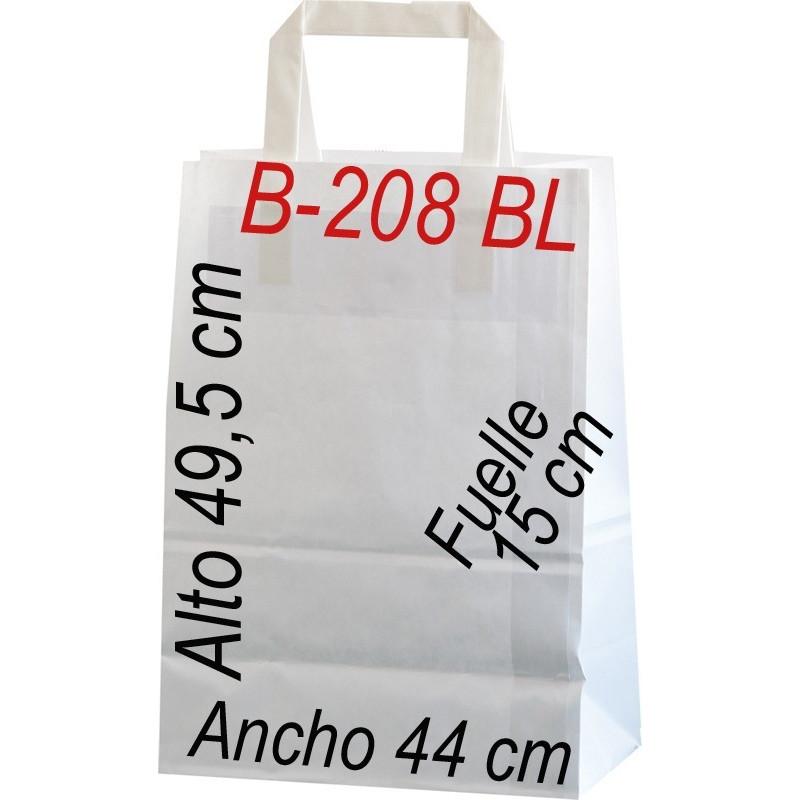 Bolsa Multiusos de papel celulosa blanco 44x49,5 cm  Asa Plana