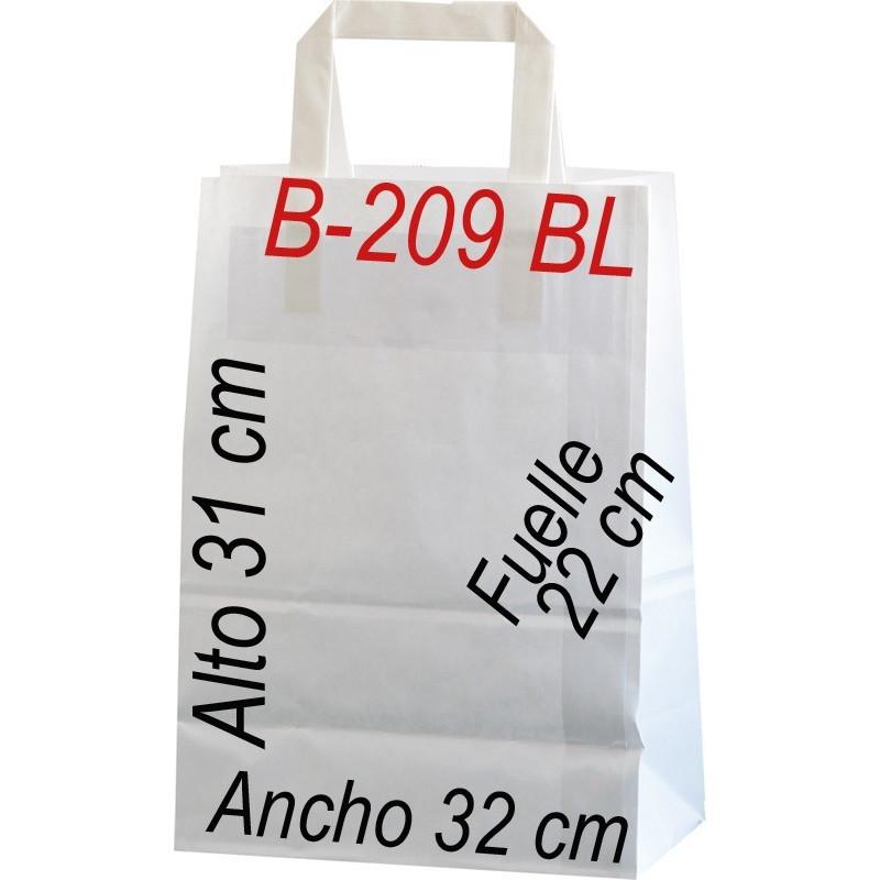 Bolsa Multiusos de papel celulosa blanco 32 x 31 cm  Asa Plana
