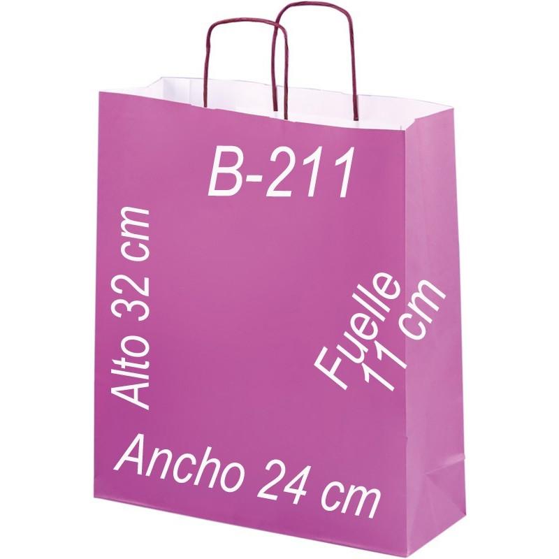 Bolsa Multiusos papel blanco verjurado de 100 grs. fondo de color y asa retorcida del mismo color que la bolsa. Tamaño: Ancho (24 cm) + Fuelle (11 cm) x Alto (32 cm)