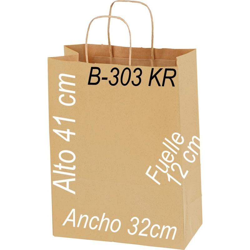 Bolsa Multiusos de papel Kraft 32 x 41 cm con asa retorcida kraft