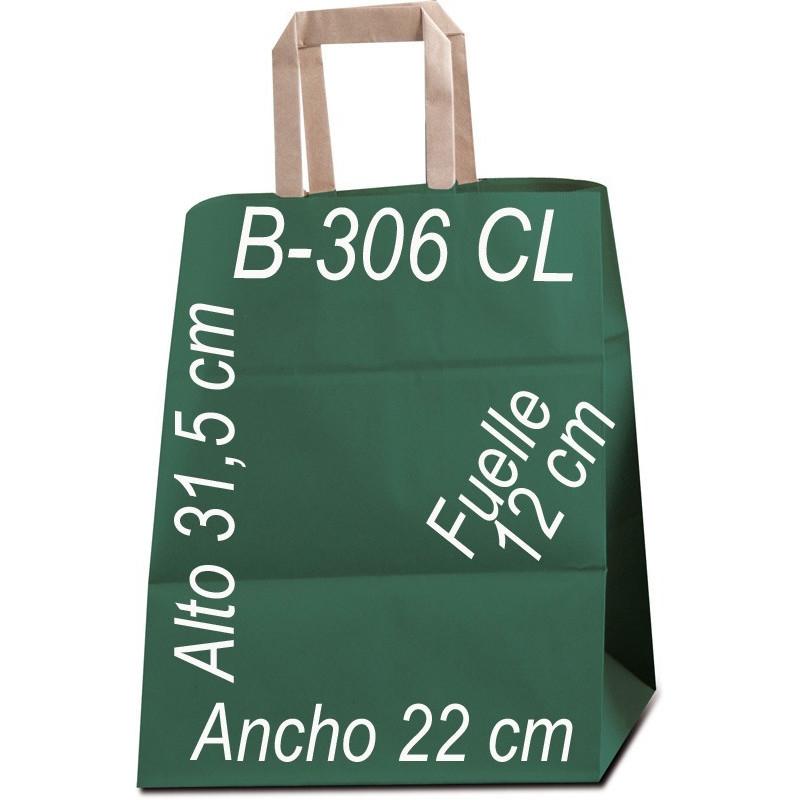 Bolsa Multiusos papel Kraft liso de 80 grs. con asa kraft Plana Tamaño: Ancho (22 cm) + Fuelle (12 cm) x Alto (31,5 cm)