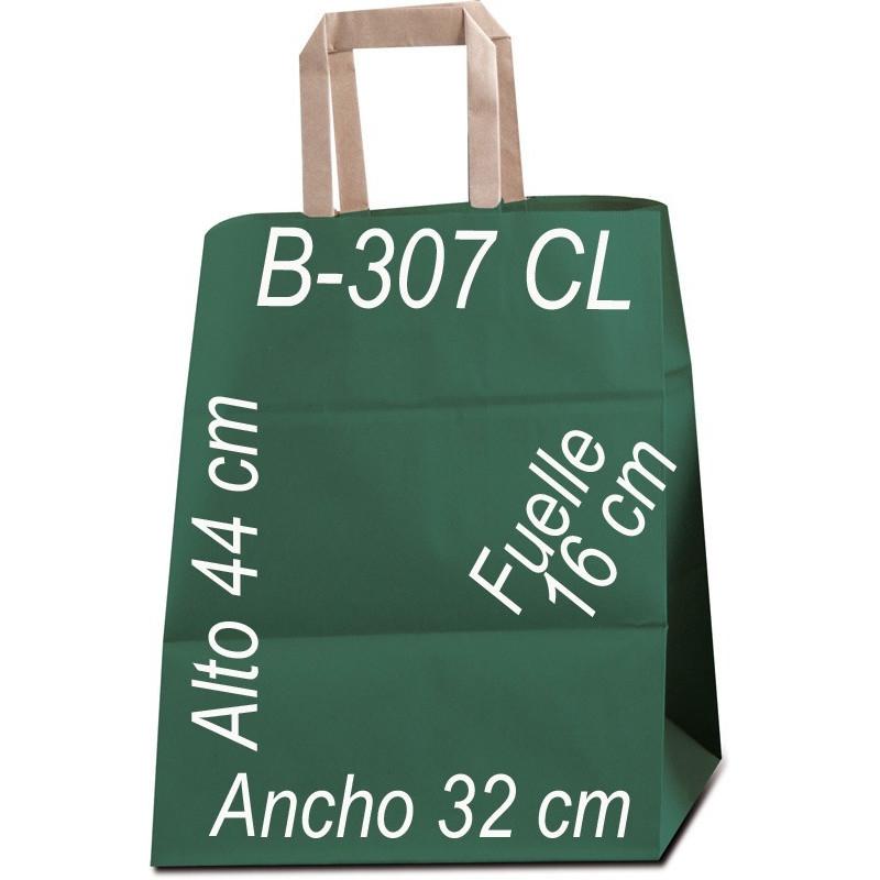 Bolsa Multiusos papel Kraft liso de 90 grs. con asa kraft Plana Tamaño: Ancho (32 cm) + Fuelle (16 cm) x Alto (44 cm)
