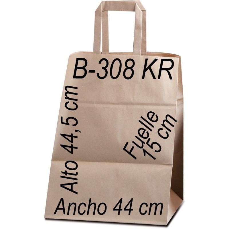 Bolsa Multiusos papel Kraft liso 100 grs. Asa Plana Tamaño: Ancho (44 cm) + Fuelle (15 cm) x Alto (49,5 cm)