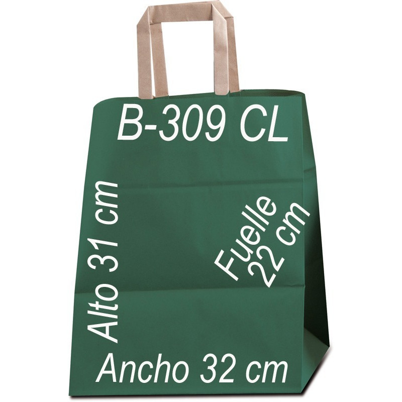 Bolsa Multiusos papel Kraft liso de 90 grs. con asa kraft Plana Tamaño: Ancho (32 cm) + Fuelle (22 cm) x Alto (31 cm)