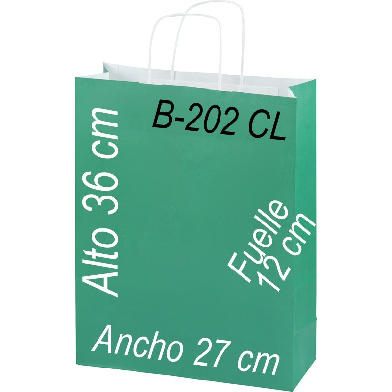 Bolsa Multiusos de pape celulosa con asa retorcida tamaño 27x36 cm