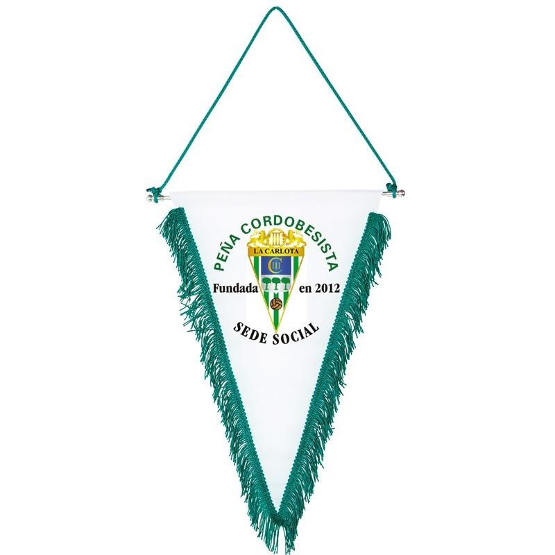 banderín deportivo triangular con escudo por 1 cara
