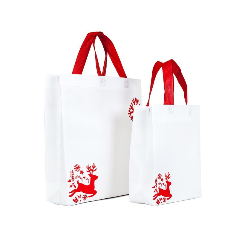 Bolsa navideña blanca asas rojas