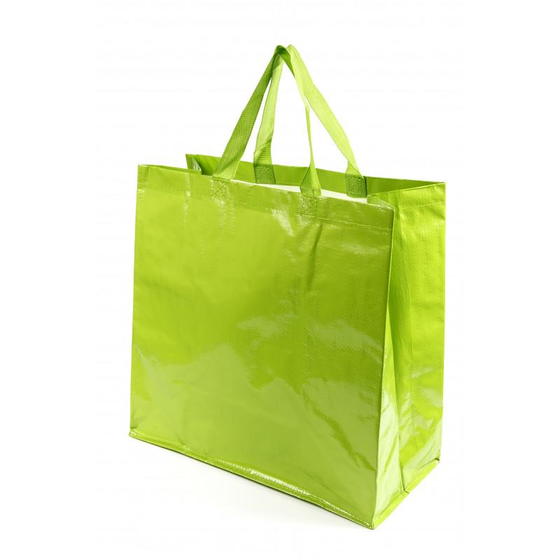bolsa de rafia brillo para supermercado tipo mercadona verde