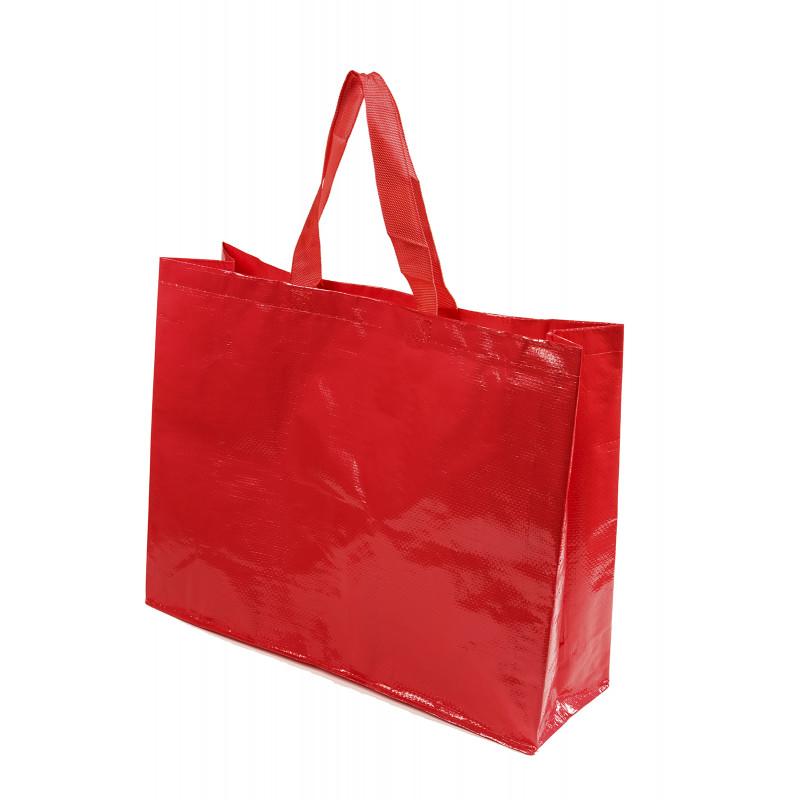 bolsa rafia para supermercado cierre velcro color rojo