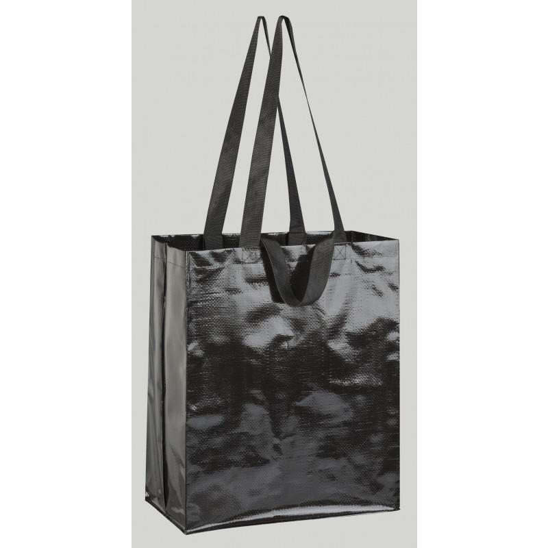 bolsa de rafia negra brillo 36x43x20