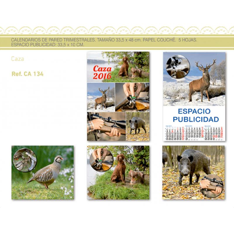 calendario publicidad de pared 5 hojas caza
