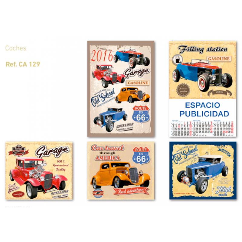 calendario publicidad de pared 5 hojas coches antiguos