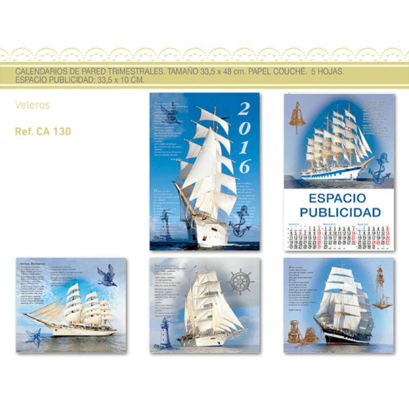 calendario publicidad de pared 5 hojas barcos veleros