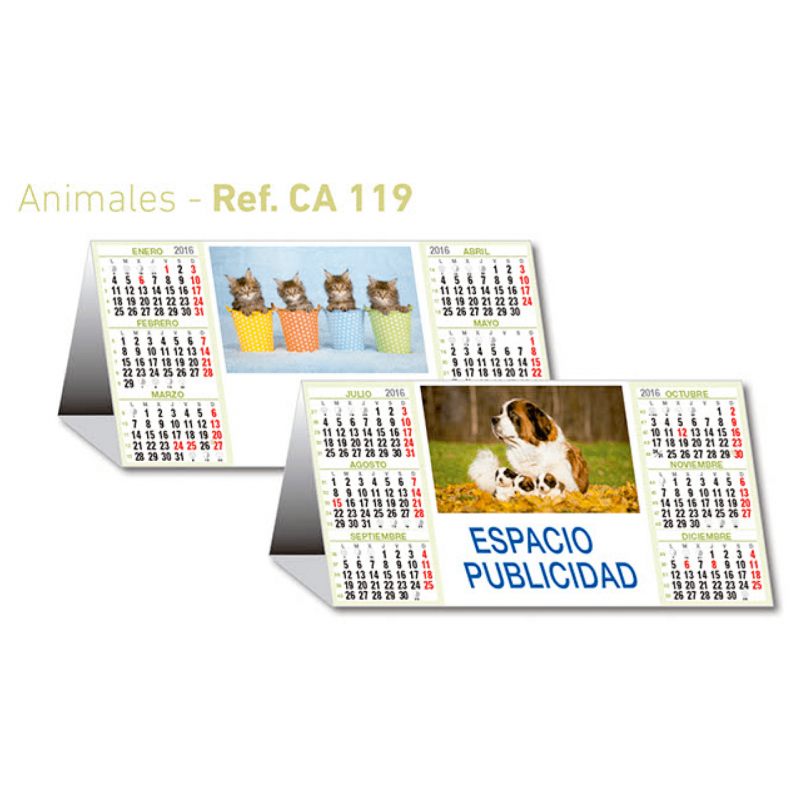 calendario sobremesa semestral animales