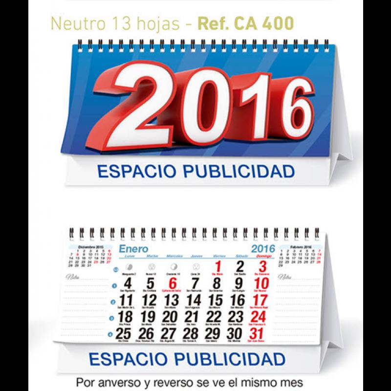 calendario sobremesa mensual 13 hojas neutro