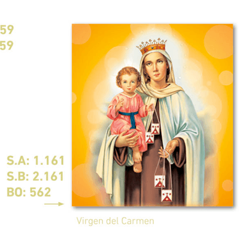 calendario pared Virgen Del Carmen
