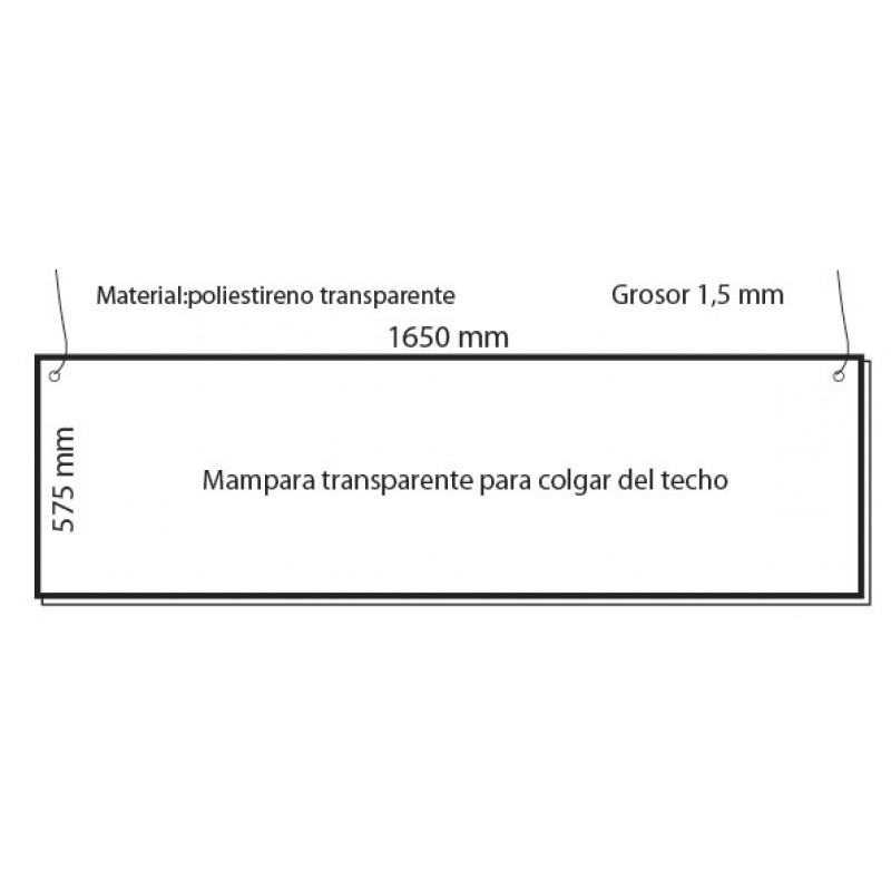 mampara proteccion covi19 colgante del techo ancha