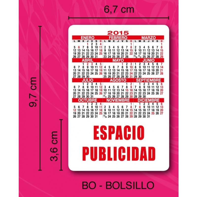Medidas Calendario de bolsillo