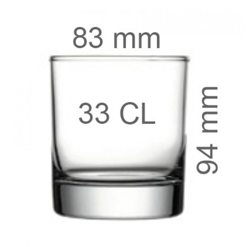 Medidas vaso cristal whisky 33 CL
