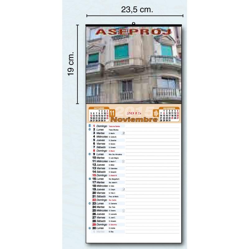 Calendario publicitario con cartela y faldilla mensual para tomar notas