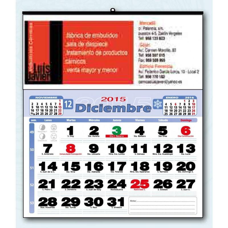 Calendario publicitario de cartoncillo faldilla mensual