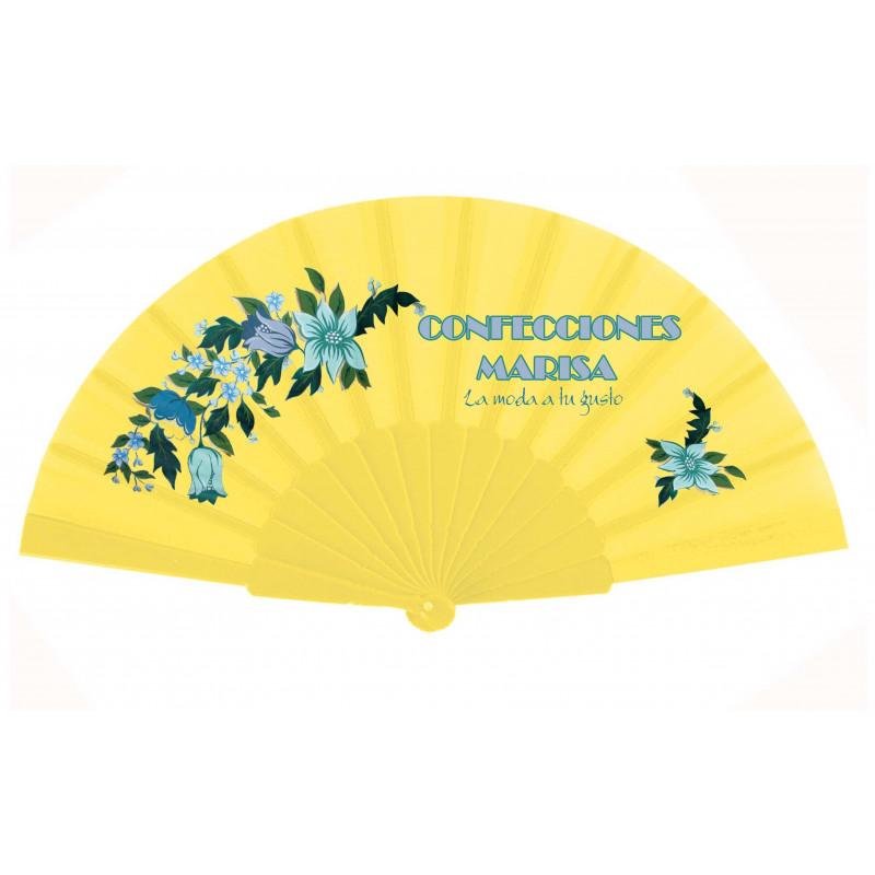 Abanico de tela y varillas de plástico amarillo