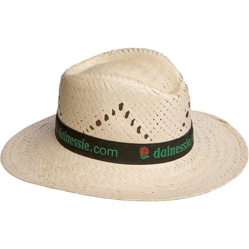 Sombrero de paja con cinta impresa en todo el perímetro y cosida al ... 68fbfe23298