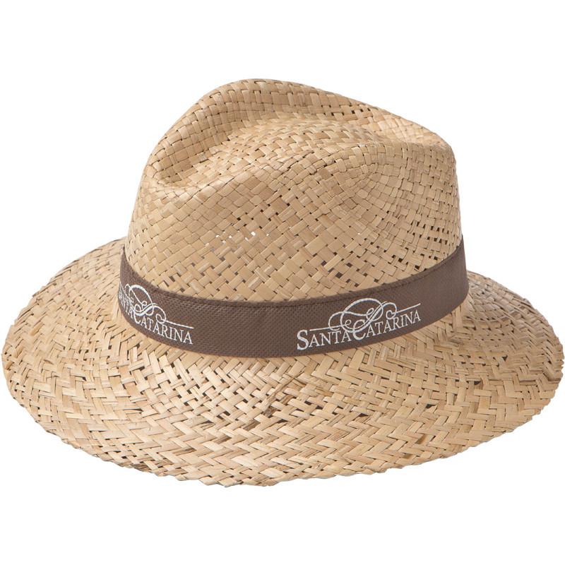 sombrero fibra doble con cinta publicitaria