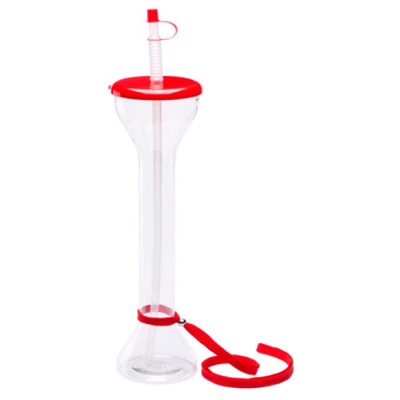 vaso transparente con colgador y pajita roja