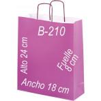 Bolsa papel verjurado 18x24 Asa retorcida y fondo de color